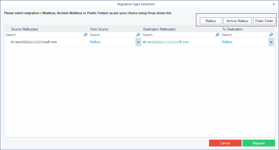 Choosing type of data - mailbox, archive or public folders