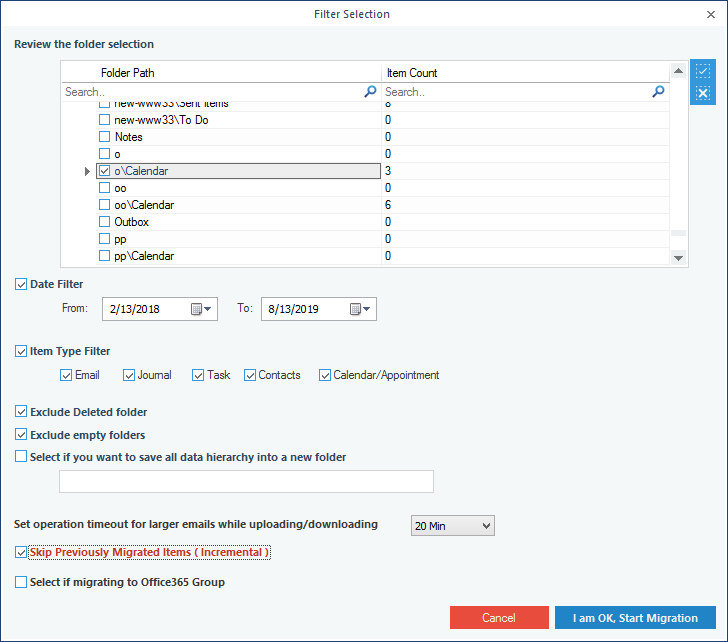 Filtering the mailbox data for selective migration