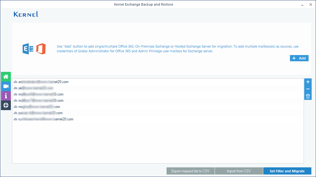 Selecting the type of data for multiple Exchange mailboxes backup