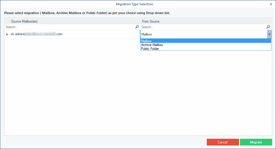 Selecting the type of data for backup, such as primary, archive mailbox, or public folder