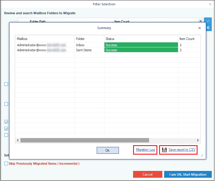 Save the Exchange backup report in CSV format