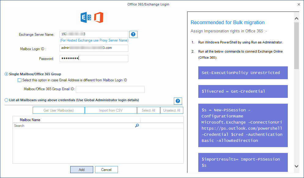 Adding Exchange server with right credentials