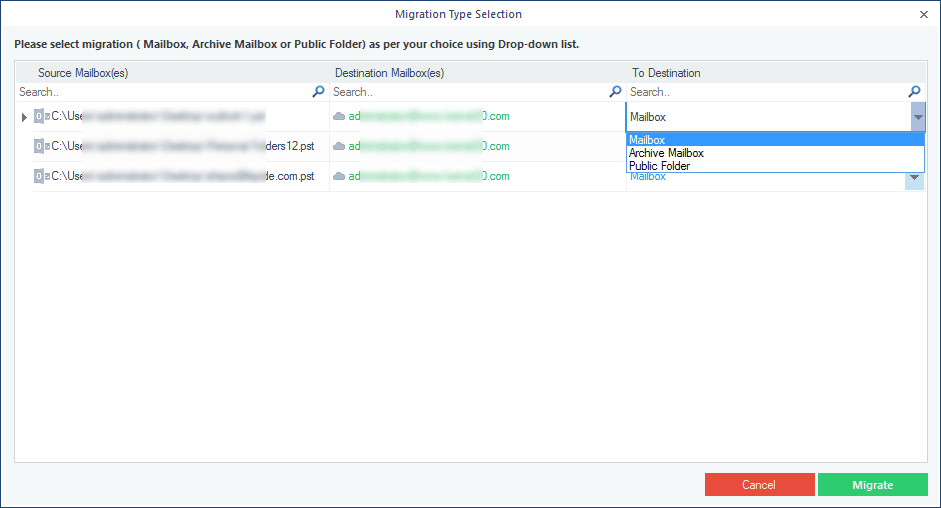 Select the type of mailbox to restore the PST file