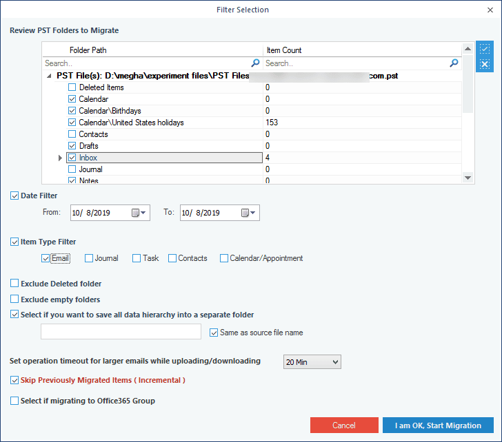 Filter PST file before Office 365 import.