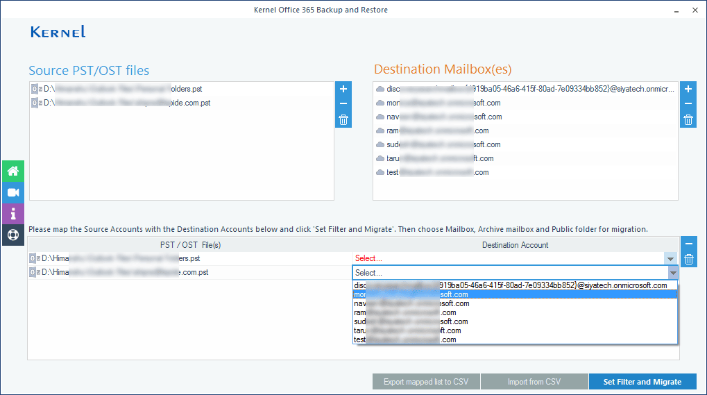 Map PST file with multiple mailboxes