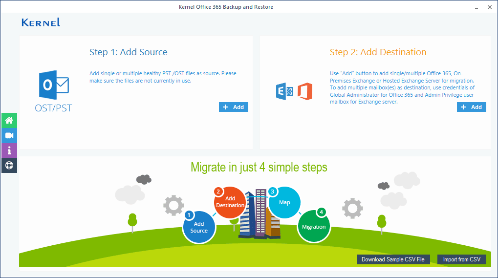 Add the source and destination for PST to Office 365 import