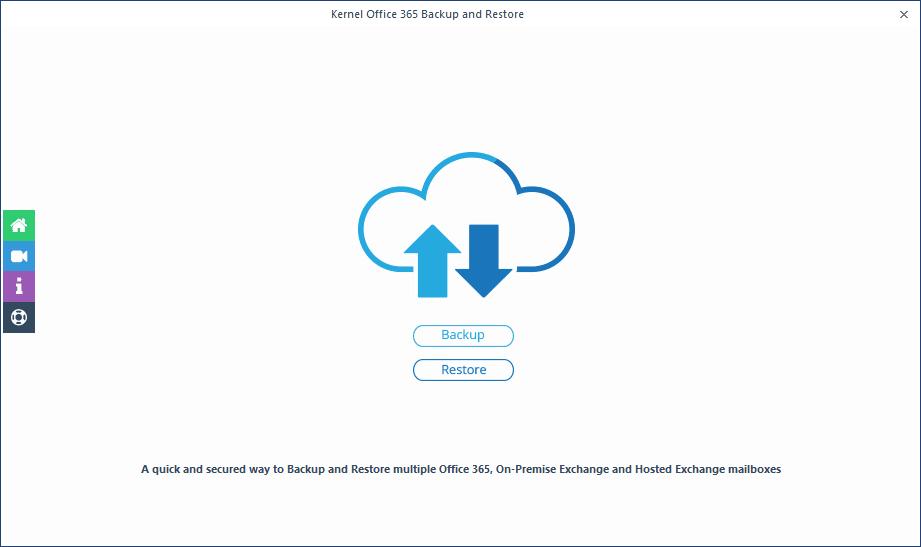 Welcome screen of Kernel Office 365 Backup & Restore