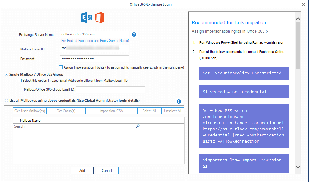 Adding the credentials for Office 365 account and selecting a single mailbox for backup
