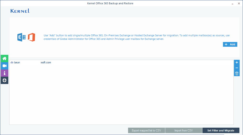 Checking the single mailbox of Office 365 for backup