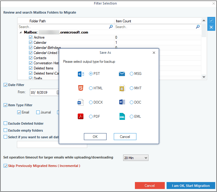 Choosing file format for saving Office 365/Exchange data.