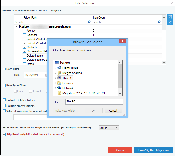 Provide the destination path for saving Office/Exchange data and click OK.
