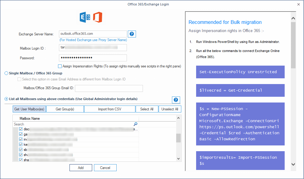 Adding multiple mailboxes of Office 365 for backup