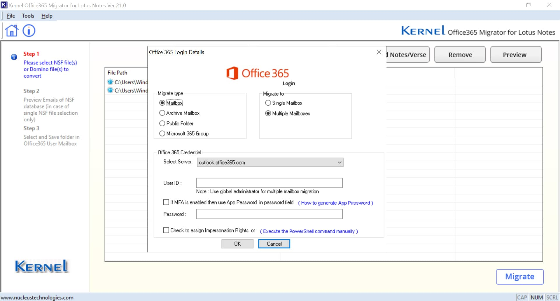 Provide the login details of the Microsoft 365 account